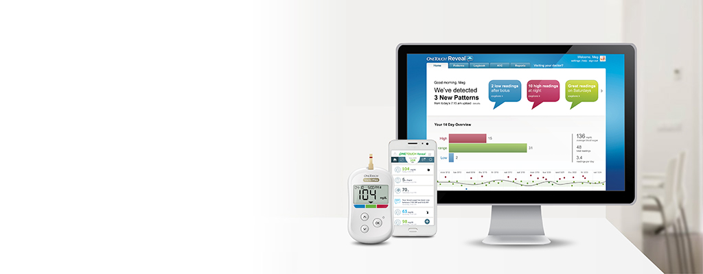 OneTouch Reveal® mobile and web apps for patient's banner