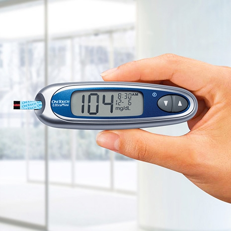 OneTouch® UltraMini® meter in hand